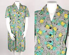 VTG 1940s - 1950s TULIP FLORAL PRINT SHORT SLEEVE SHIRTWAIST DRESS POCKET L / XL