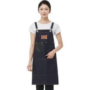 Line Gown DN618 Simple Denim Apron Black Leather Strap Salon Hairdresser Nail