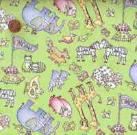 Noahs Ark animal pairs green Northcott childrens fabric