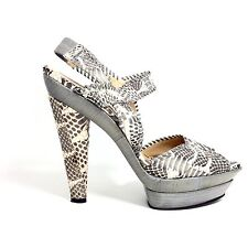 Devi Kroell Gray Python Leather Platform Ankle Strap Heels Made in Italy Sz 9 M