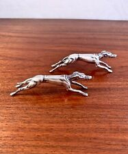 RICHARD COLLETT ENGLISH STERLING SILVER ART DECO KNIFE RESTS - RACING GREYHOUNDS