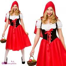 Ladies Red Riding Hood Costume Adult Fairytale Book Week Day Fancy Dress Tights