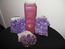 Vintage Unique and Stunning Amethyst Crystal Book Ends & Paper Weight 3 pc  Set