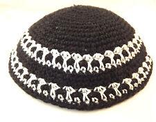 Black White Knitted Yarmulke Kippah 16 cm diameter Jewish Kippa Hat Judaica Cap