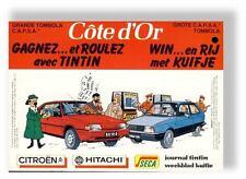 Tintin  Herge feuillet pub Cote d'Or Citroen 1984
