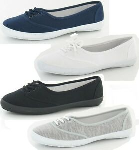 LADIES FLAT CANVAS LACE UP CASUAL ROUND TOE SUMMER TRAINER PUMPS SHOES F8854