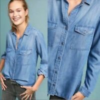 Cloth & Stone Women's Chambray Blue Double Pocket Button Down Roll Tab Shirt S