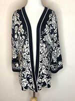 PERUVIAN CONNECTION Women's Cardigan Sweater Open Front Kimono Black Floral Sz M