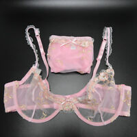Women Sheer Lace Floral Bra See Through Lingerie Underwear Plus 32-44 A-D E F