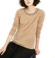 Charter Club Women's Cashmere Jewel Neck Sweater, Brown, Size XL, $189,NwT