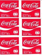 COCA-COLA LABELS 26 oz.LABELS -739ml NON REFILLABLE BOTTLES CANADIAN  6 LABELS