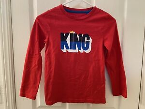 Mini Boden King Graphic Print Long Sleeve Shirt Top Boys Size 7-8 years