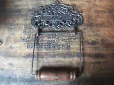 "Toilet Roll Holder ""TOILET""     vintage victorian style      cast iron &  wood"