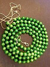 "Vintage Large Green Mercury Glass Beads Christmas Tree Garland - 60"" Long"