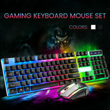 Gaming Tastatur Maus Set RGB LED Beleuchten 2400DPI Keyboard USB für PC Laptop