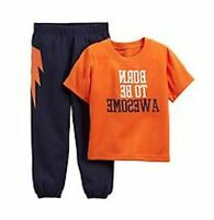 """NWT CARTER'S BOYS 2PC """"BORN TO BE AWESOME"""" ORANGE KNIT TOP & PANTS SIZE 24M"""