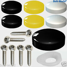 12 x NUMBER PLATE FIXING SCREW COVER KIT BLACK WHITE YELLOW CAPS SECURITY SCREWS
