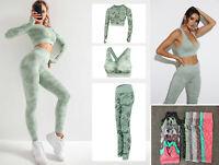 Women Seamless Camo Yoga Set Crop Top + Sports Bra + Pants Gym Tracksuit 3Pcs