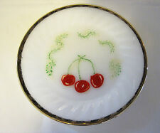 Vintage Fire King White Plate Gold Trim Unique Painted Cherry On Stem Dish