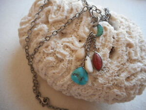 Silpada Oxidized Sterling Silver Turquoise Coral Tassel Necklace N1508 RE5962