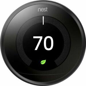 Nest 3rd Generation Learning Black Programmable Thermostat Pro