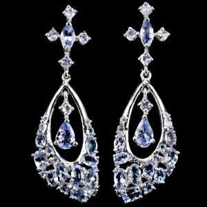 Earrings Blue Tanzanite Genuine Natural Gems Solid Sterling Silver Drop Dangle