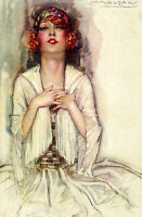 ARTIST SIGNED GLAMOUR - A. MAUZAN - ART NOUVEAU GIRL