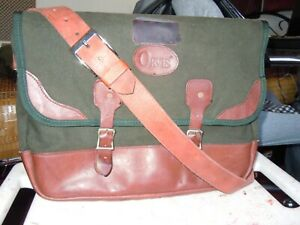Orvis Battenkill Leather Green Canvas Laptop  messenger classic