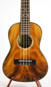 Alulu Solid Acacia Koa Classical Head Satin Finish Tenor Ukulele Hard Case BU611