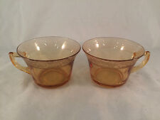 "Lot of 2 Orange Depression Glass Mugs Cups 2-1/2"" Tall, 3-1/2"" Diameter"