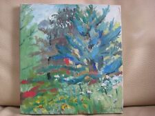 ABSTRACT EXPRESSIONIST LANDSCAPE OIL PAINTING SIGNED SAUL LISHINSKY LISTED OLD
