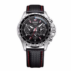 UK MEGIR Mens Stainless Steel Analog Sport Quartz Wrist Watch Waterproof Watches