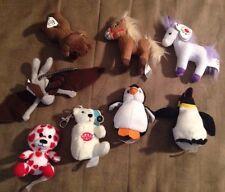 8 mini plush bear, dog, penguin, horse, McDonalds, Burger King, BAB, Ty, Fur Rea