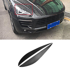 Fit For Porsche Macan 2014-2018 HeadLight Eyelid Eyebrows Cover Carbon Fiber
