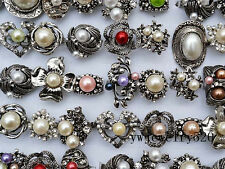 FREE Wholesale Lots Mixed 5Pcs Oversize Flower Rhinestone Pearl Silver P Rings
