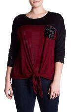$110 H.I.P. Women's RED BLACK STRIPE CREW NECK LONG SLEEVE T SHIRT PLUS SIZE 3X