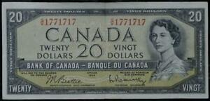 1954 BANK OF CANADA QEII $20 Serial Number 1771717  VF/XF No Reserve Auction