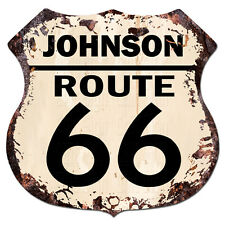 BPHR0002 JOHNSON ROUTE 66 Shield Rustic Chic Sign  MAN CAVE Funny Decor Gift