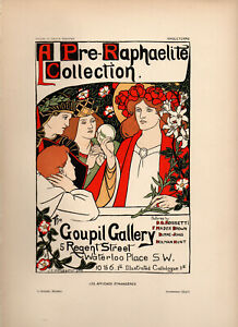 "GRAHAM ROBERTSON Affiches Etrangeres 1897 Stone Litho Poster: ""GOUPIL GALLERY"""