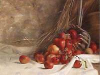 PAINTING STILL LIFE OIL RED APPLE FRUIT UNKNOWN ARTIST GERMANY ART PRINT CC957