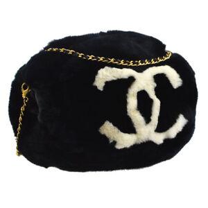 CHANEL CC Arm Sleeve Chain Shoulder Bag Black White Fur VTG BT16435f