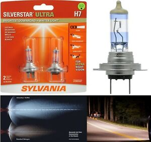 Sylvania Silverstar Ultra H7 55W Two Bulbs Head Light High Beam Replace Upgrade