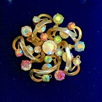 Vintage Brooch Aurora Borealis Gold Tone Swirls Pink Blue Green Claw Set crystal