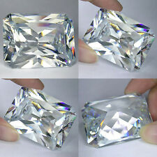 IF 10+ cts Huge Radiant Emerald  (14x10 mm) Lab Clear White Diamond AAA N112
