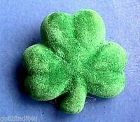 Hallmark PIN St Patrick Vintage SHAMROCK FLOCKED Irish Holiday Brooch