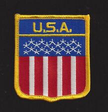 USA SCRIPT SHIELD FLAG HAT VEST PATCH UNITED STATES STARS N STRIPES PIN UP US