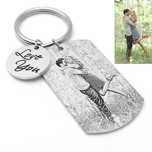 Custom Photo Keychain Engrave Love You Silver Key Chain Keyring Christmas Gift
