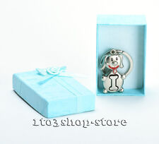 Stainless KeyChain Bone Inside Dog Wedding Party w/Blue Gift Box Chrome NEW