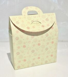 NEW CREAM Gift Box Bag, Flat Packed. *HEART Pattern/Valentine/Mother's Day Wrap*