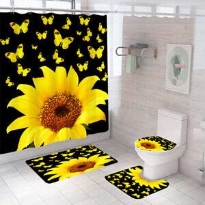 Sunflower Bathroom Rug Set Shower Curtain Thick Soft Toilet Lid Cover Bath Mat